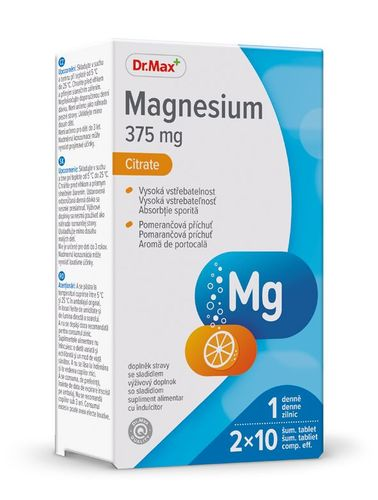 Dr.Max Magnesium Citrate 375 mg 2x10 šumivých tablet